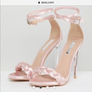 Lost Ink Pink Satin Braid Detail Heeled Sandals